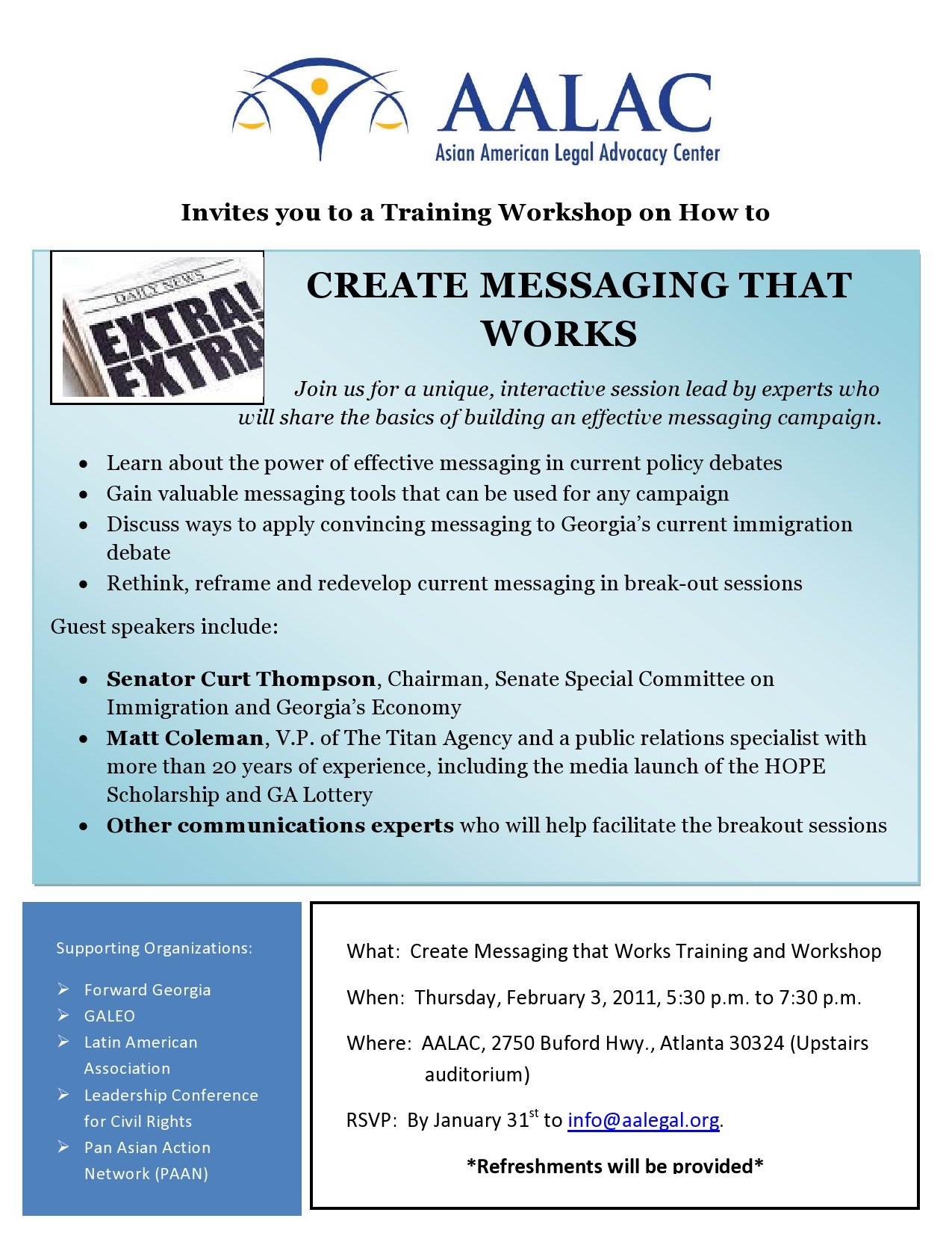 AALAC Feb.3 Training Workshop on How to Create Messaging that Works