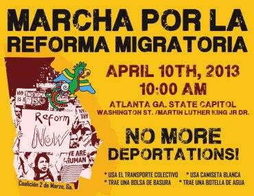 April 10 march flyer bilingual English Spanish